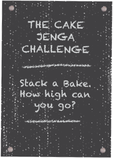 Cakesmiths Head Bakers taking on the Cake Jenga Challenge.
